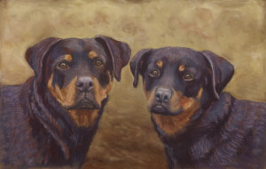 "Rescued Rottweilers  11""x16""   $600"