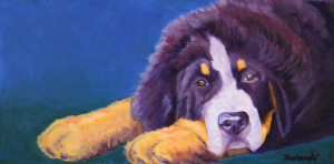 "Bernese Mountain Puppy Oil Painting on canvas 7.5""x15"" $550"