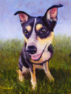 oil painting of rescue dog