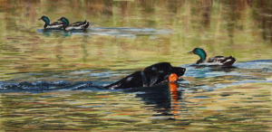 pastel painting of dog retrieving in water