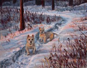Westies in the Snow