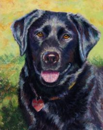 black labrador in a pastel painting