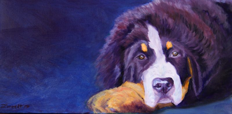 dog oil painting commission