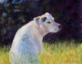 pastel painting of dog in garden